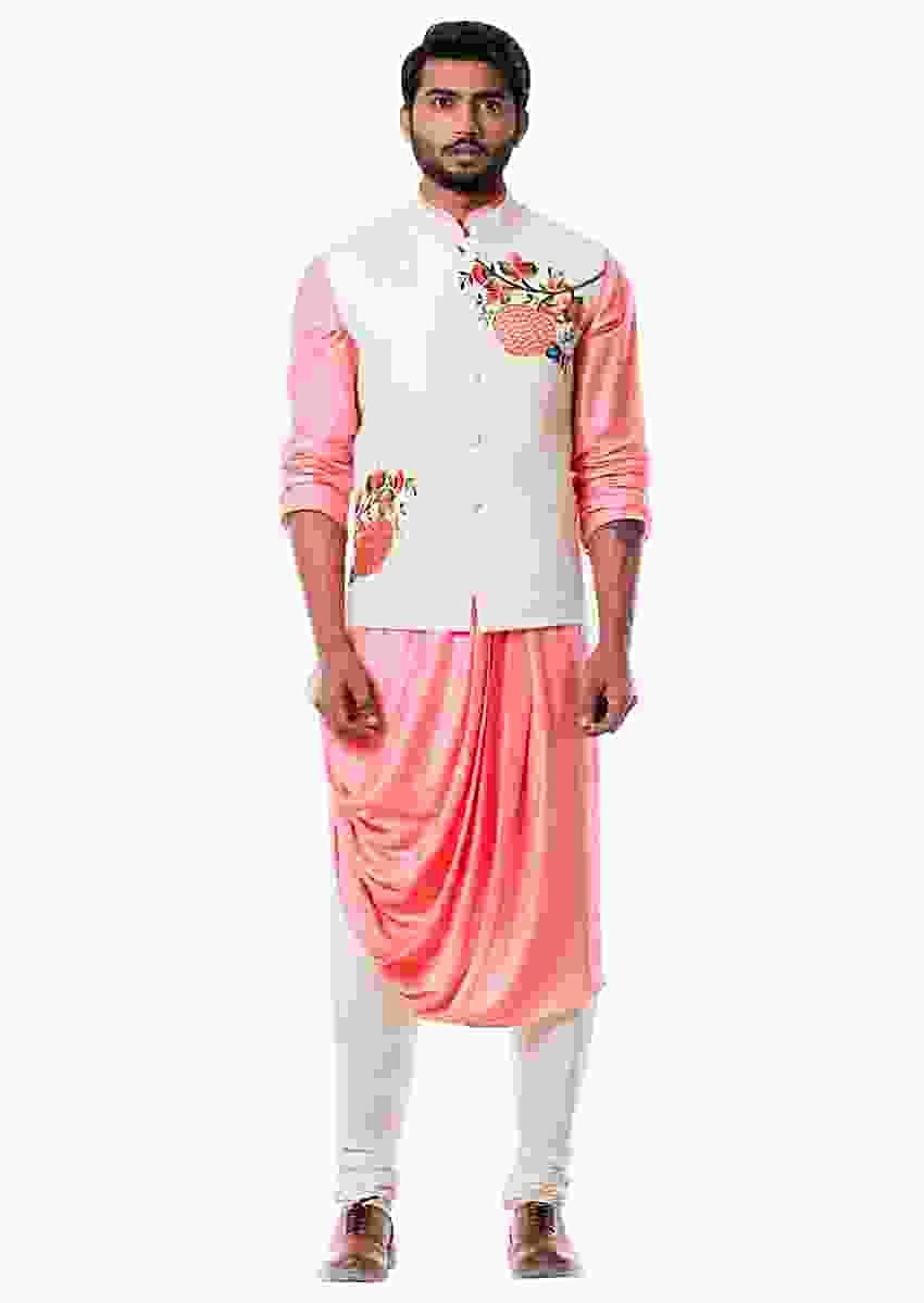 Peach Cowl Kurta With Off White Quilted Waist Coat Online - Kalki Fashion