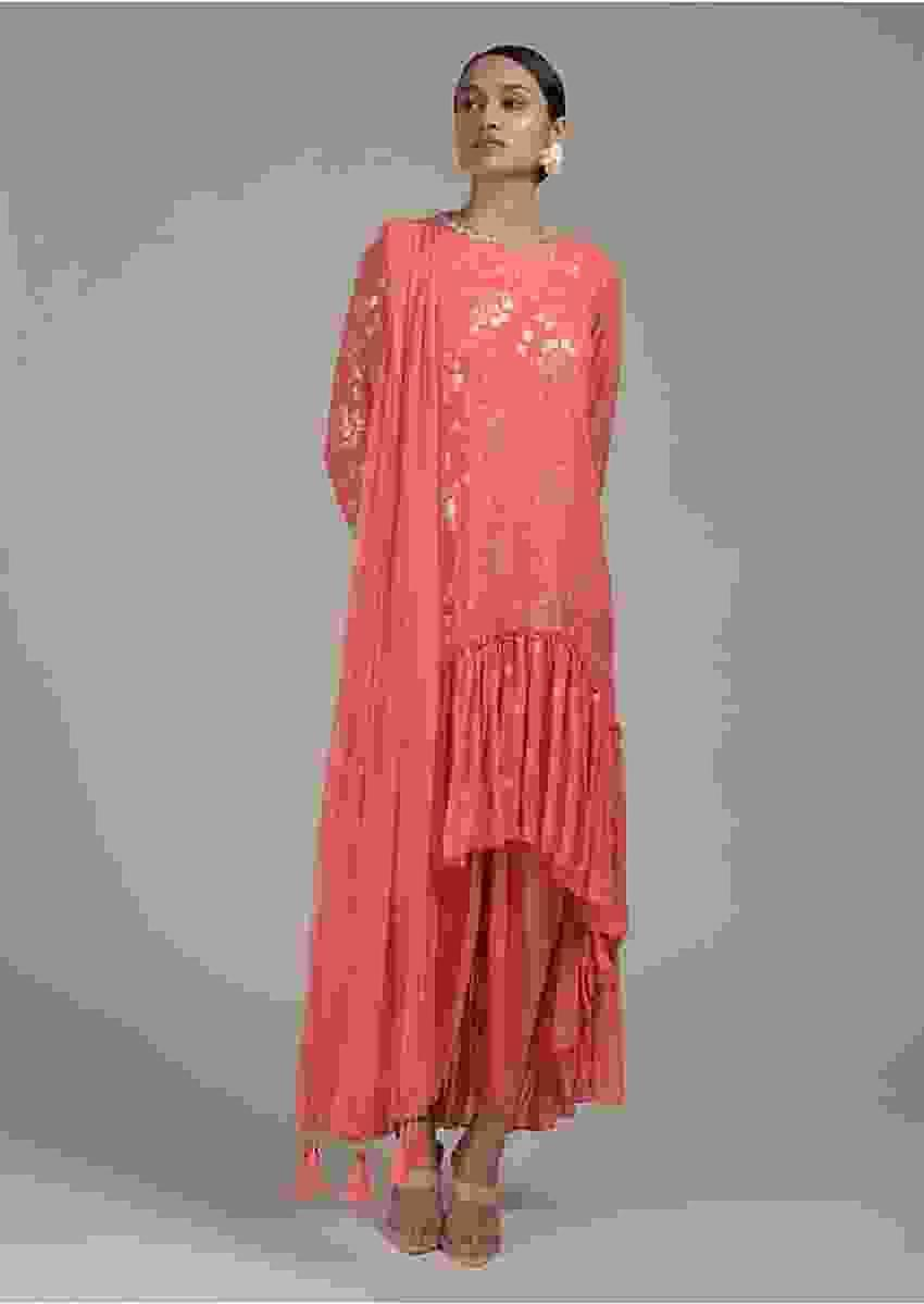 Peach Dhoti Suit With Flared Frill Kurti Embroidered Using Sequins And Thread In Floral Design Online - Kalki Fashion