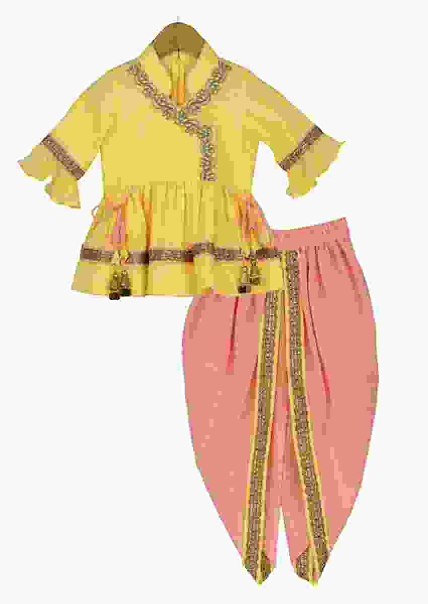 Peach Dhoti Suit With Yellow Angrakha Style Peplum Kurta Online - Free Sparrow