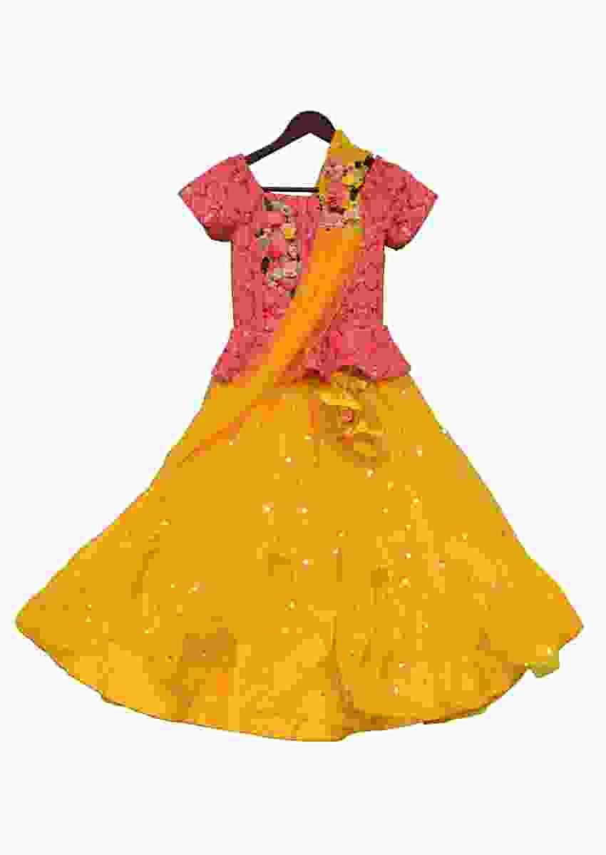 Peach Choli With Embroidery And Yellow Net Lehenga And Stitched Dupatta by Fayon Kids