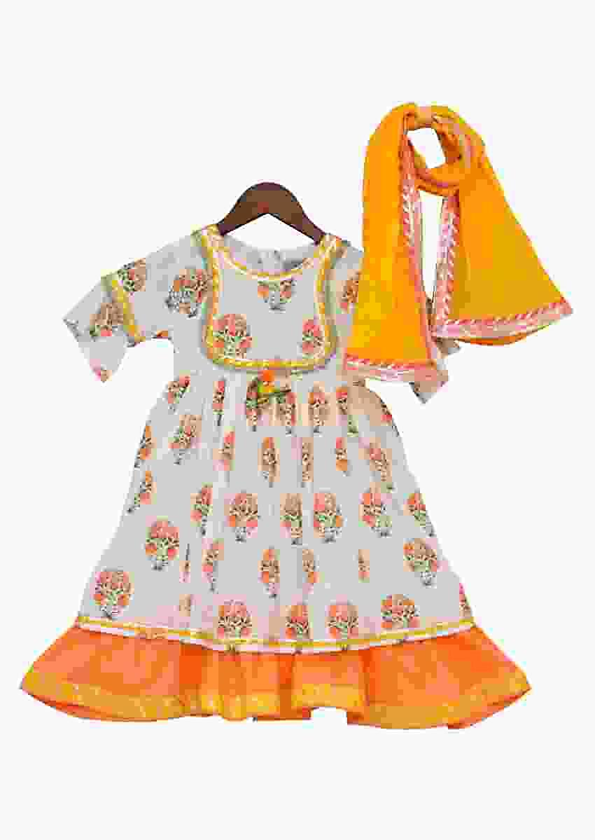 Peach Anarkali With Floral Print And Yellow Dupatta by Fayon Kids