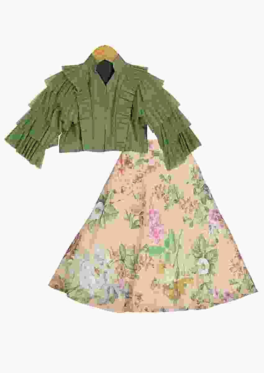 Peach Lehenga With Floral Print And Green Ruffle Crop Top Online - Free Sparrow