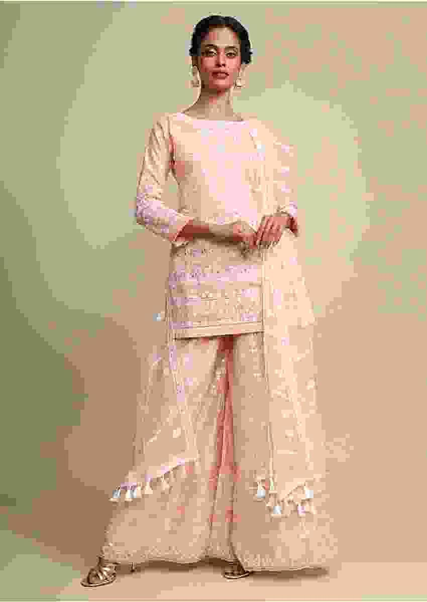 Peach Palazzo Suit In Cotton Silk With Heavy Thread Embroidery Online - Kalki Fashion