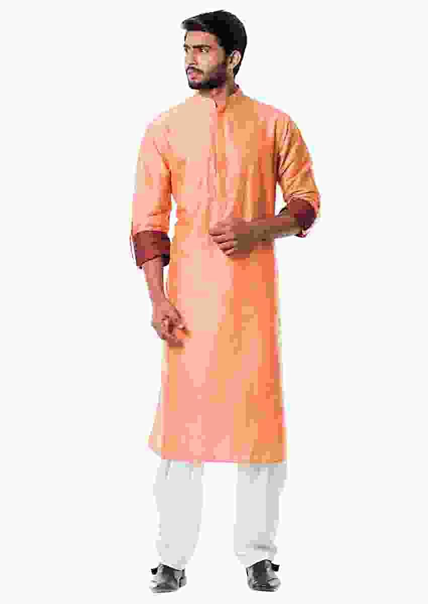 Peach Pathani Set Online - Kalki Fashion