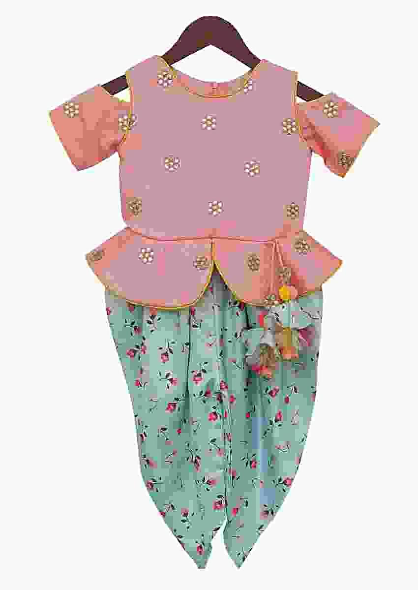 Peach Peplum Top with Sea Green Printed Dhoti by Fayon Kids