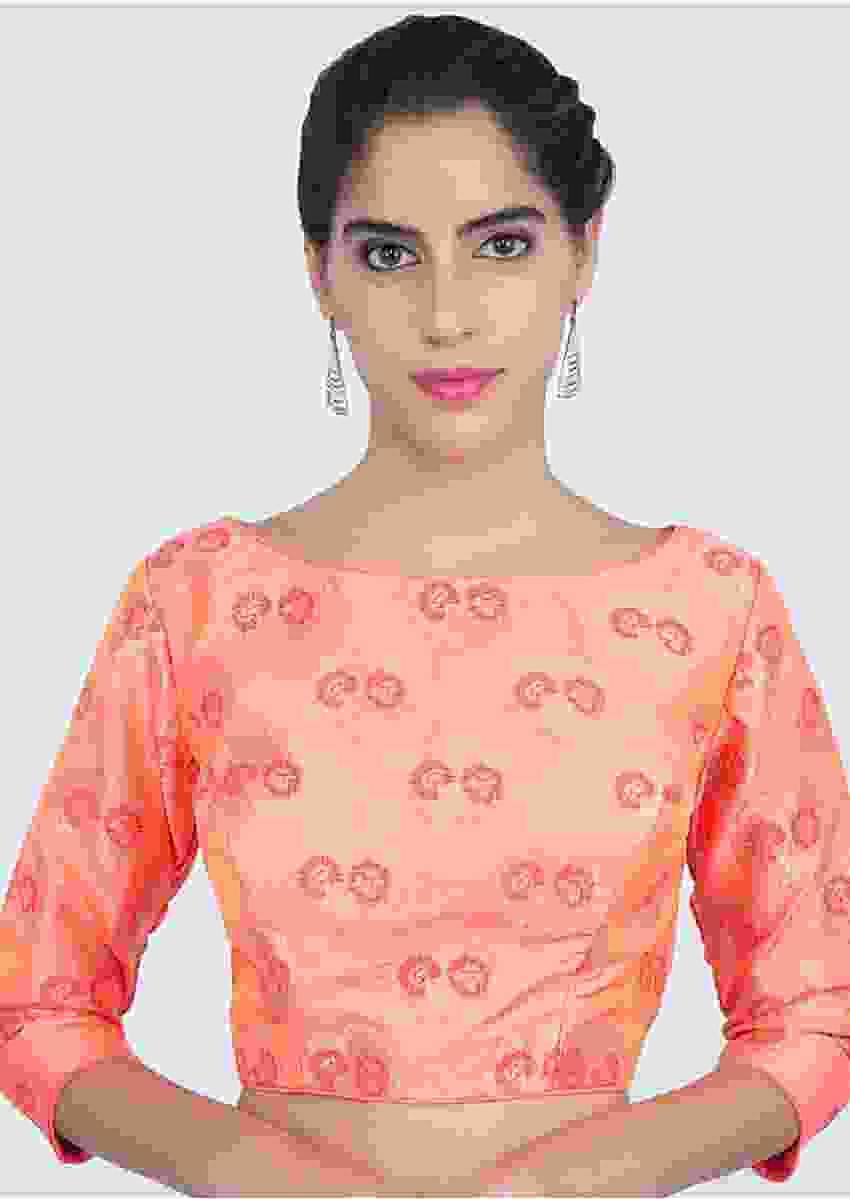 Peach Silk Blouse With Floral Weaved Butti Online - Kalki Fashion