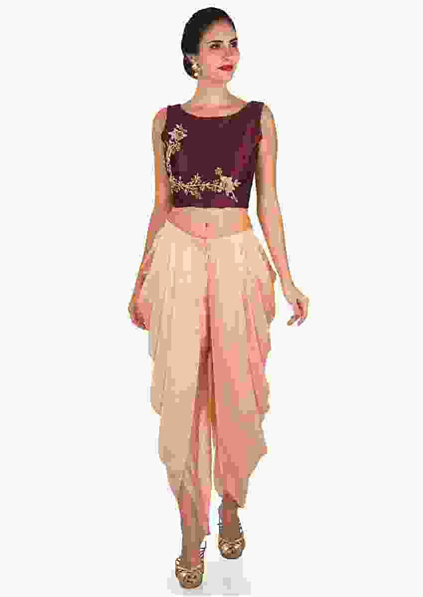 Peach And Maroon Dhoti Suit Enhanced In Zardosi Embroidered Work Online - Kalki Fashion