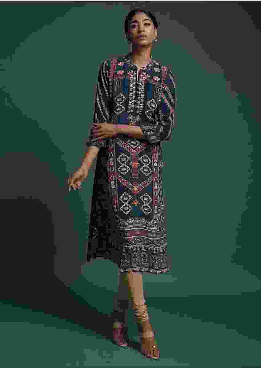 Peacock Blue Kurti In Crepe With Print And Floral Embroidered Placket Online - Kalki Fashion