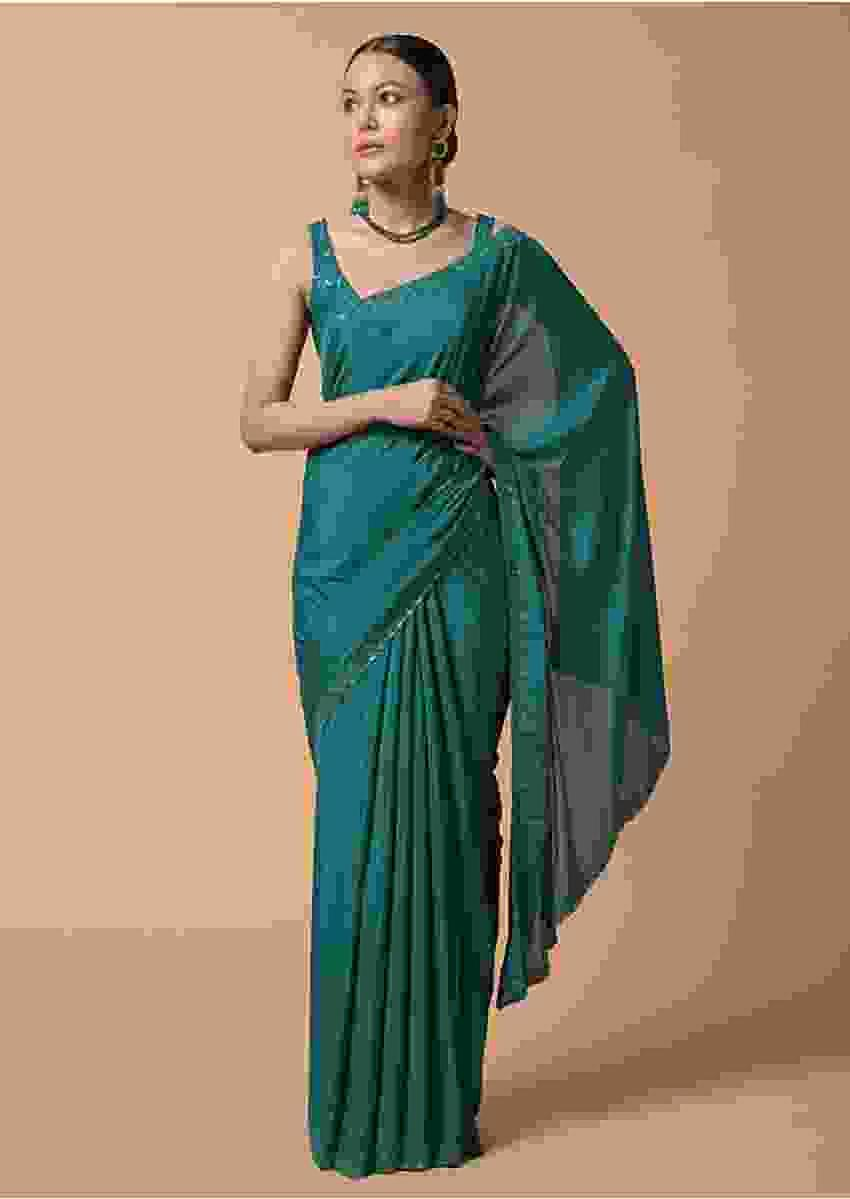 Peacock Blue Saree In Chiffon With Scattered Moti Beads And Cut Dana Embellished Border Online - Kalki Fashion