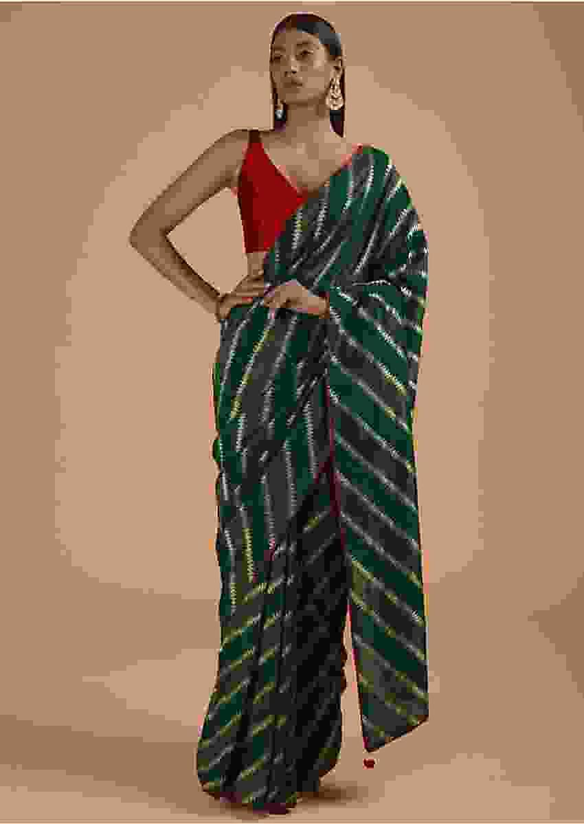 Peacock Blue Saree In Dola Silk With Woven Zig Zag Stripes Online - Kalki Fashion