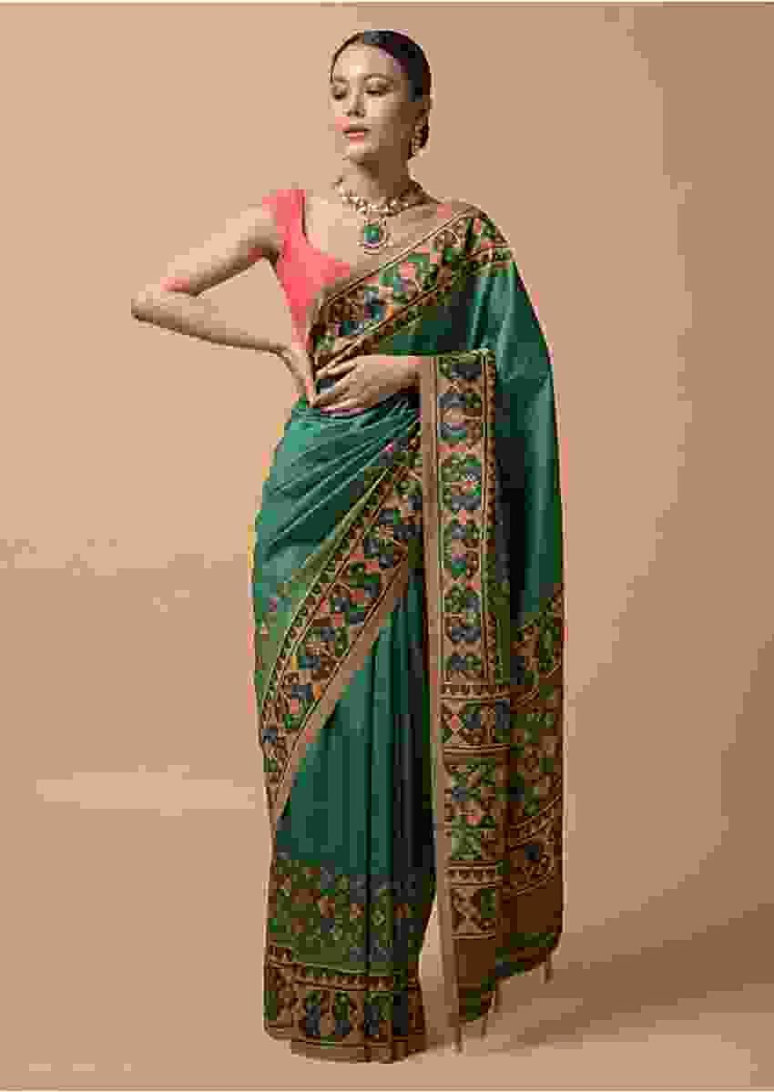 Peacock Green Saree In Silk With Printed Patola Design On The Border Online - Kalki Fashion