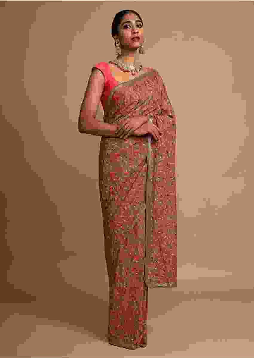Peanut Brown Saree In Georgette With Kashmiri Embroidery In Paisley And Floral Jaal Online - Kalki Fashion