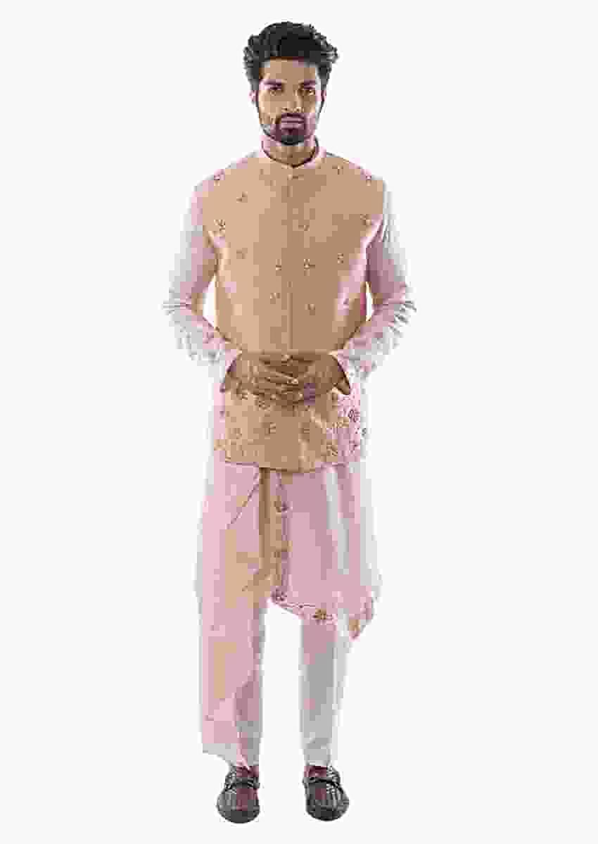 Pearl Pink Bandi In Raw Silk With French Knot Work And Zardozi Embroidery Online - Kalki Fashion