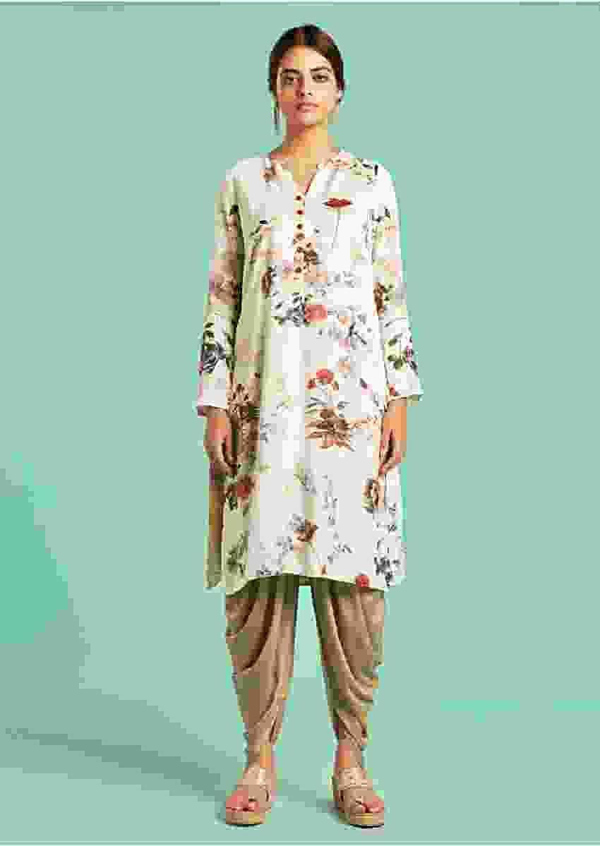 Pearl White Dhoti Suit With Floral Print And Khaki Dhoti Bottoms