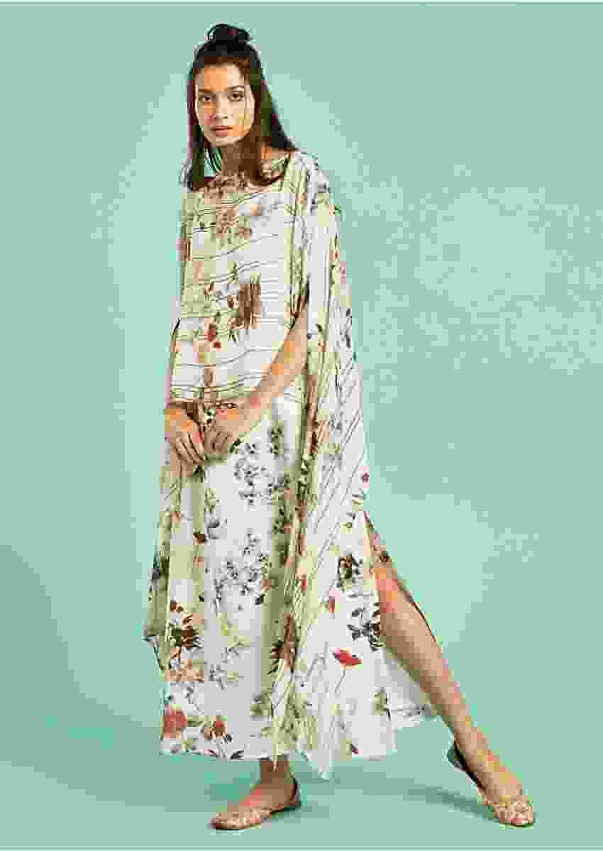 Pearl White Dress With Fancy Cape Enhanced With Floral Print