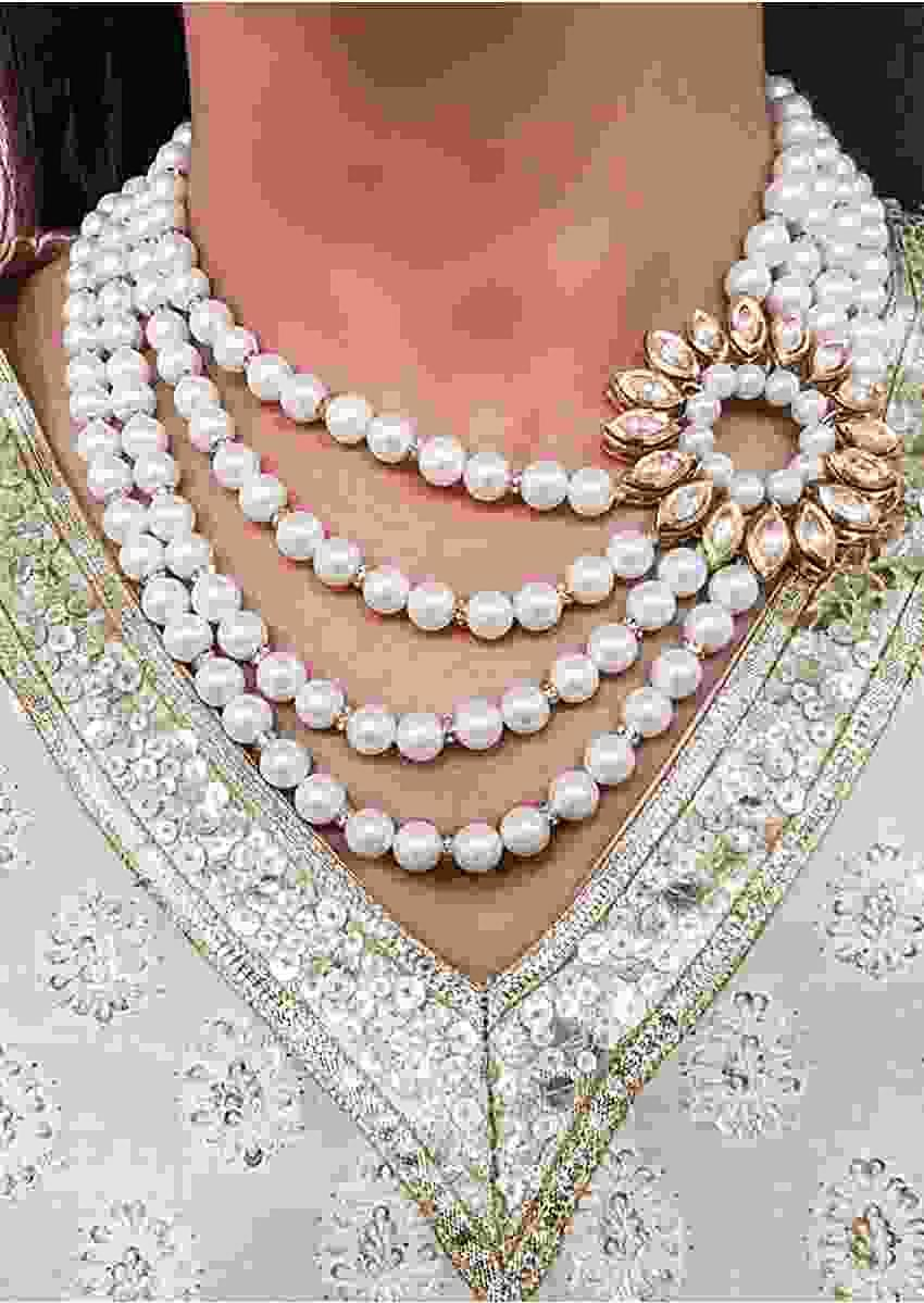 Pearls Layered Necklace With Round Kundan Piece On The Side By Prerto