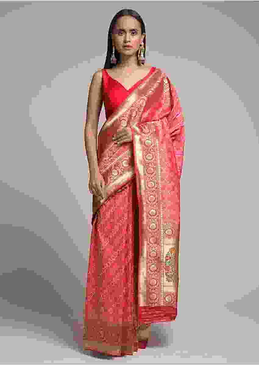 Persian Pink Saree In Silk With Woven Diagonal Stripes And Bandhani Design Online - Kalki Fashion