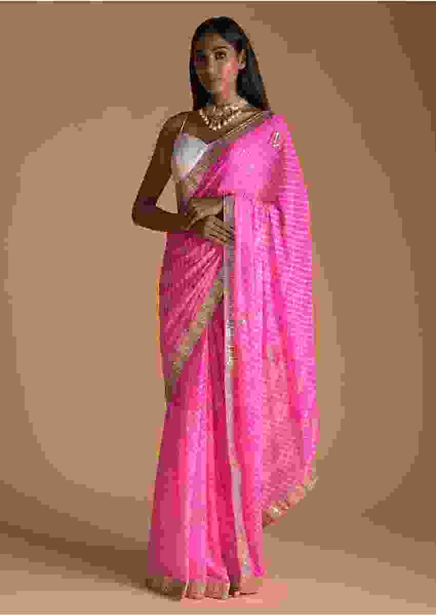 Petal Pink Saree With Lehariya Print And Gotta Patti Embroidered Buttis And Border Online - Kalki Fashion