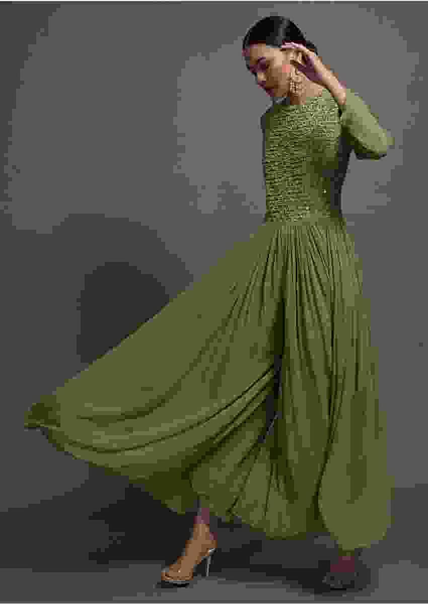 Pickle Green Georgette Jumpsuit With Mirror And Resham Embroidered Bodice Online Kalki Fashion