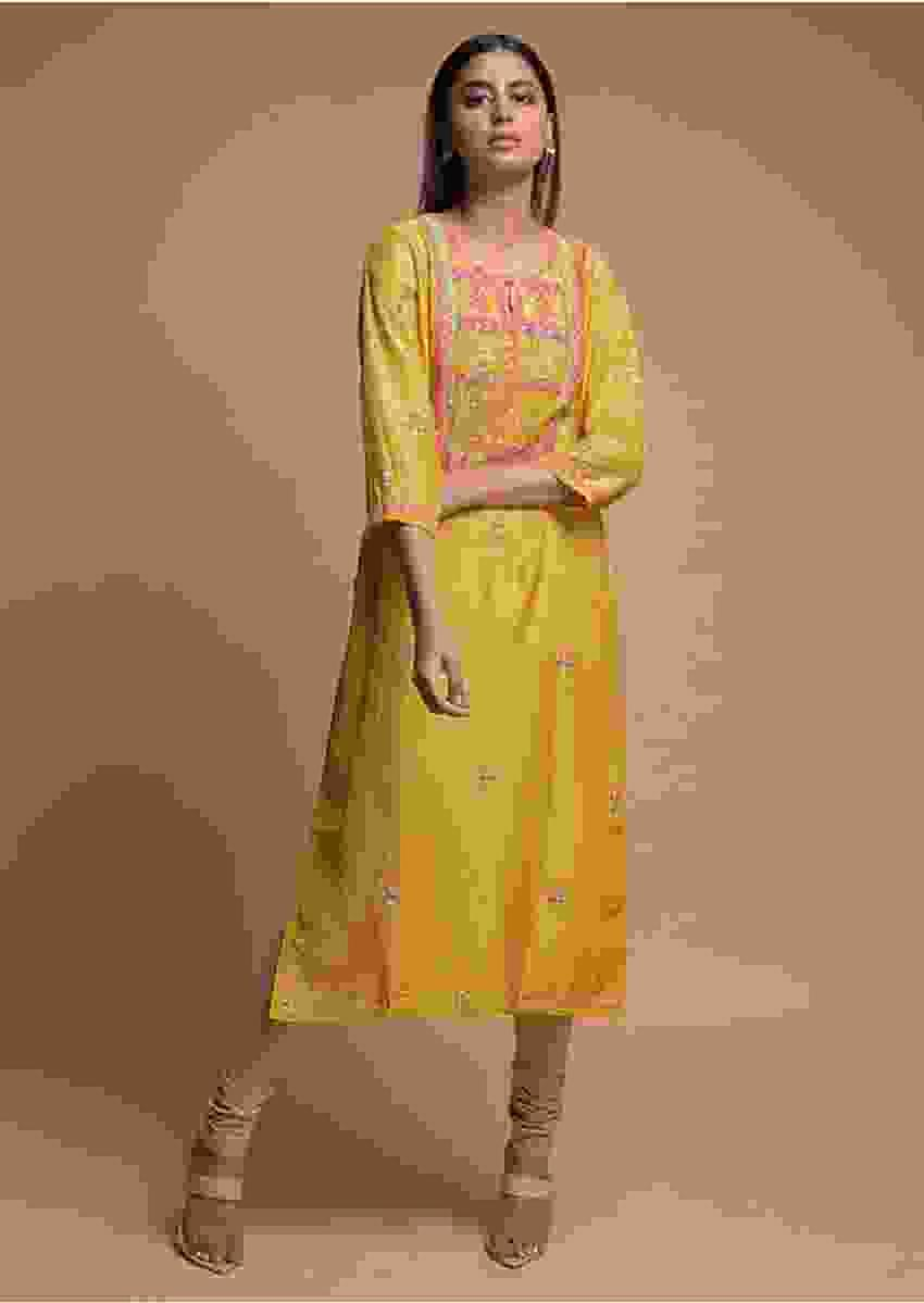 Pineapple Yellow Kurti With Colorful Thread Embroidered Yoke And Buttis Online - Kalki Fashion