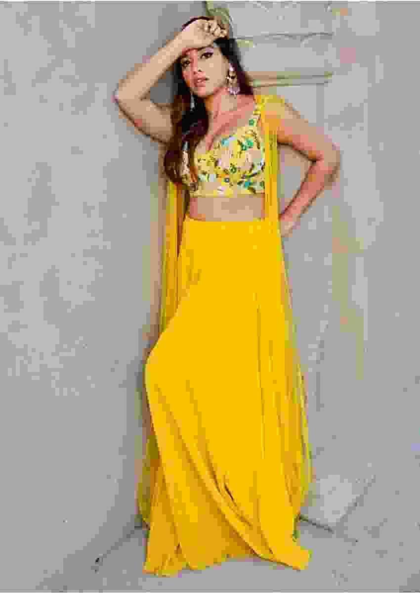 Pineapple Yellow Palazzo Suit With Embellished Crop Top And Jacket Online - Kalki Fashion