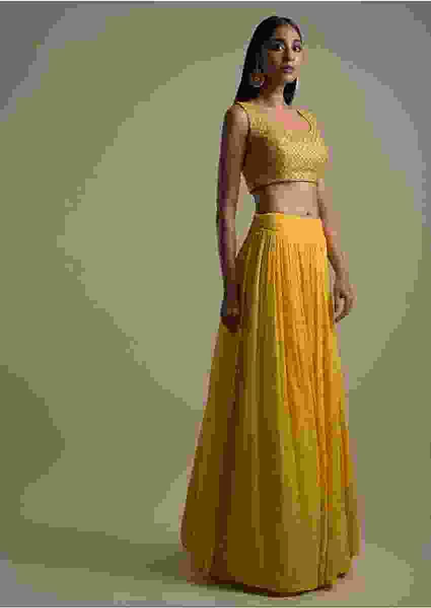 Pineapple Yellow Skirt And Crop Top With Short Embellished Jacket Online - Kalki Fashion