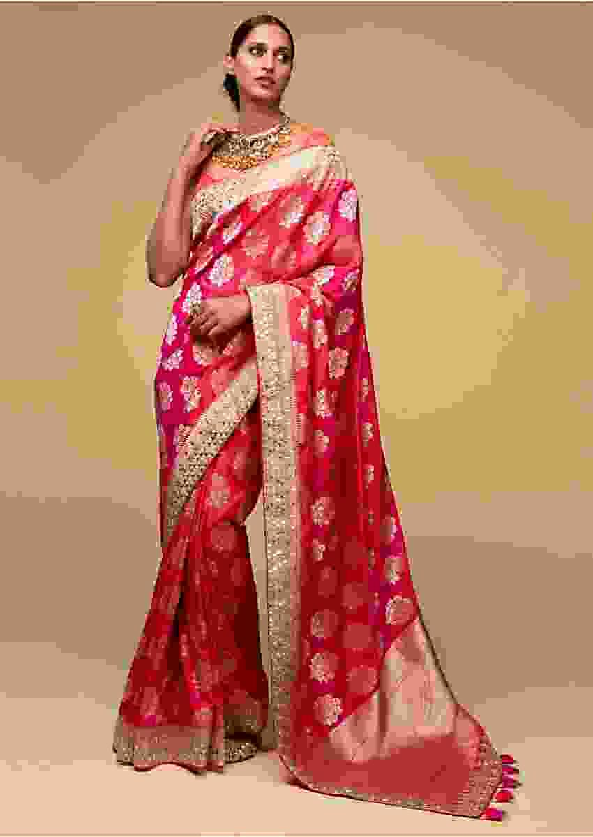 Pink And Orange Two Toned Banarasi Saree In Silk With Weaved Floral Buttis Online - Kalki Fashion