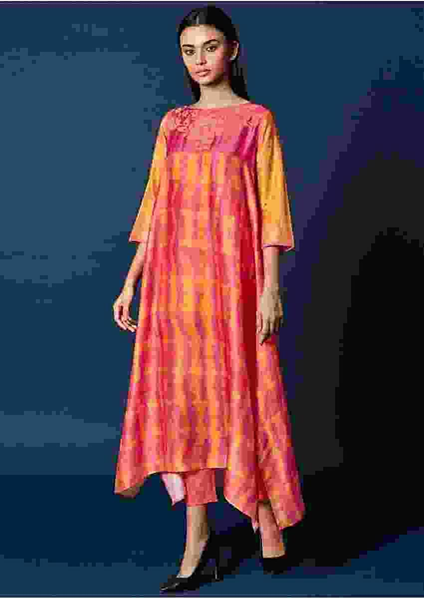 Pink And Yellow Shaded Top In Cotton Silk With Thread Embroidered Yoke Online - Kalki Fashion