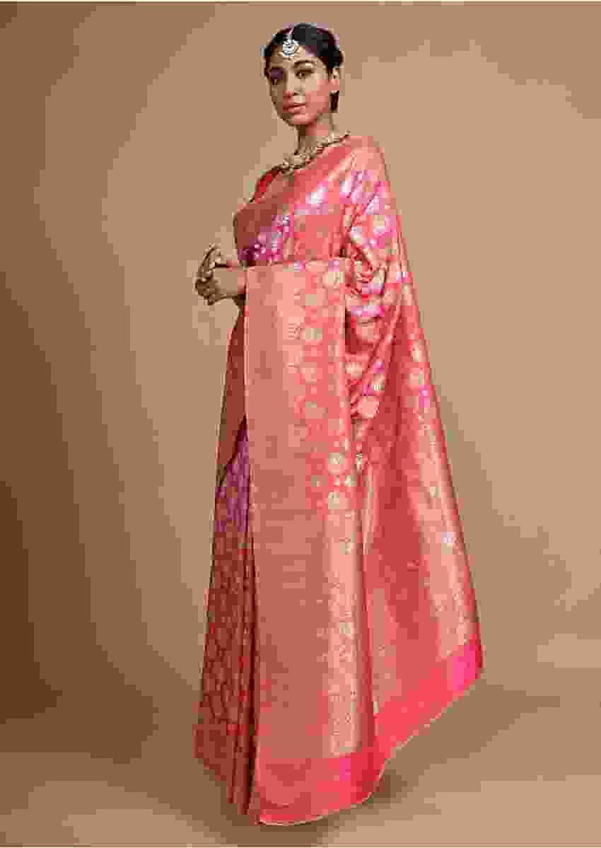 Pink Banarasi Saree In Silk With Weaved Floral Buttis Online - Kalki Fashion