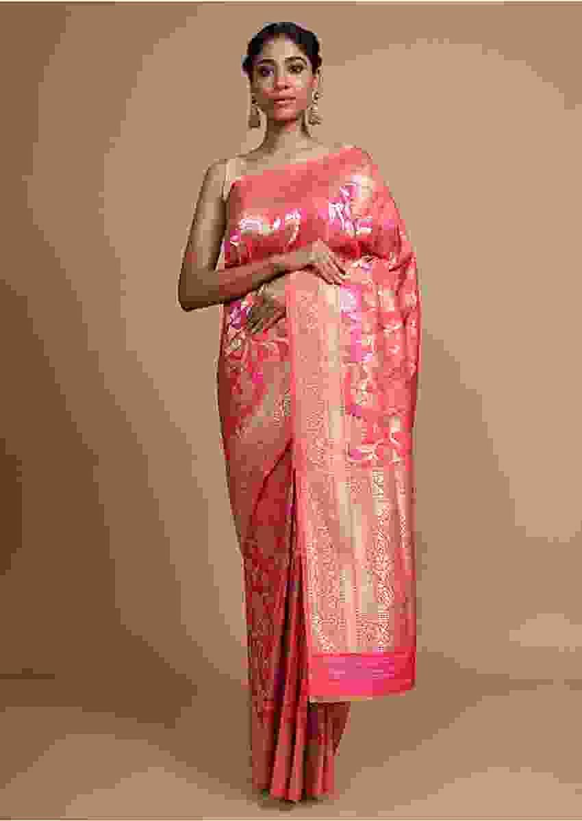 Pink Banarasi Saree In Silk With Weaved Floral Jaal Online - Kalki Fashion