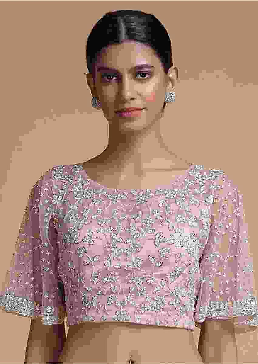 Pink Blouse In Net With Sequins And Cut Dana Embellished Floral Jaal Embroidery Online - Kalki Fashion