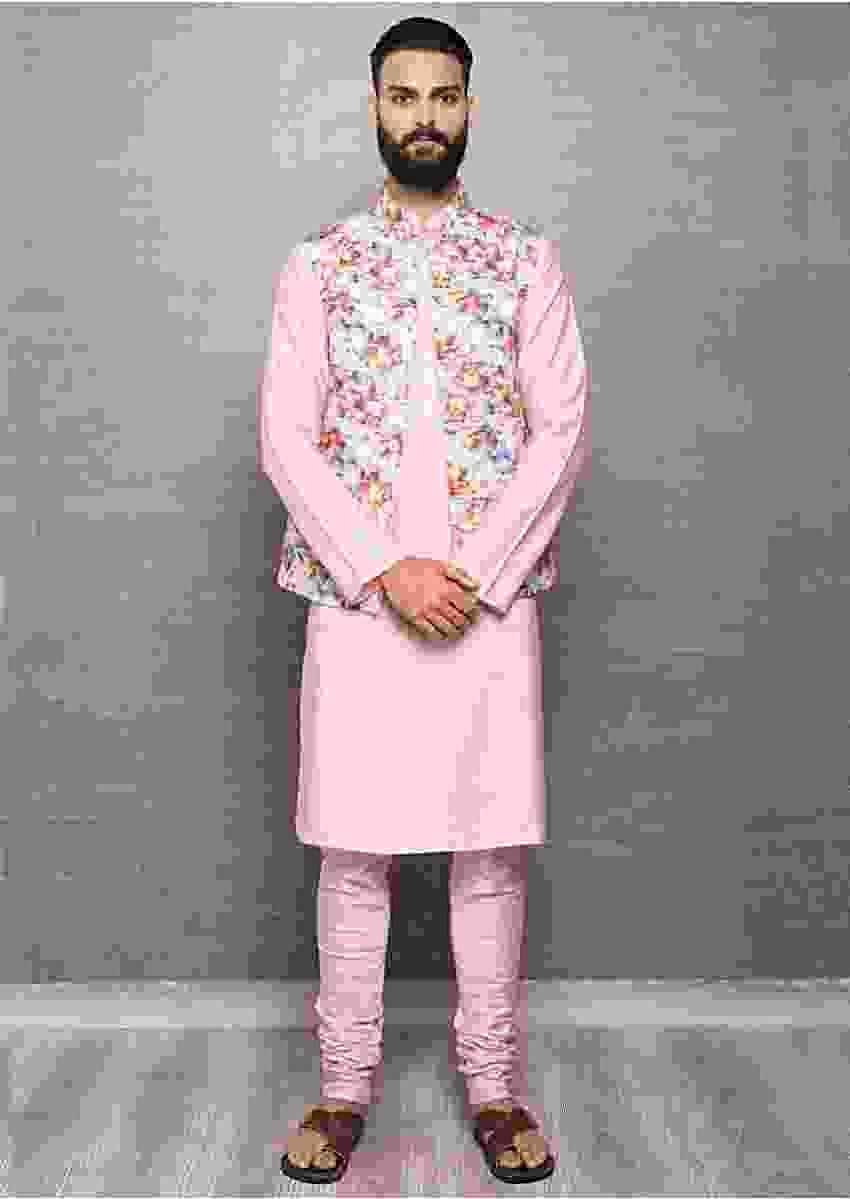 Pink Kurta In Cotton Silk And Churidar With Digital Printed Nehru Jacket Online - Kalki Fashion