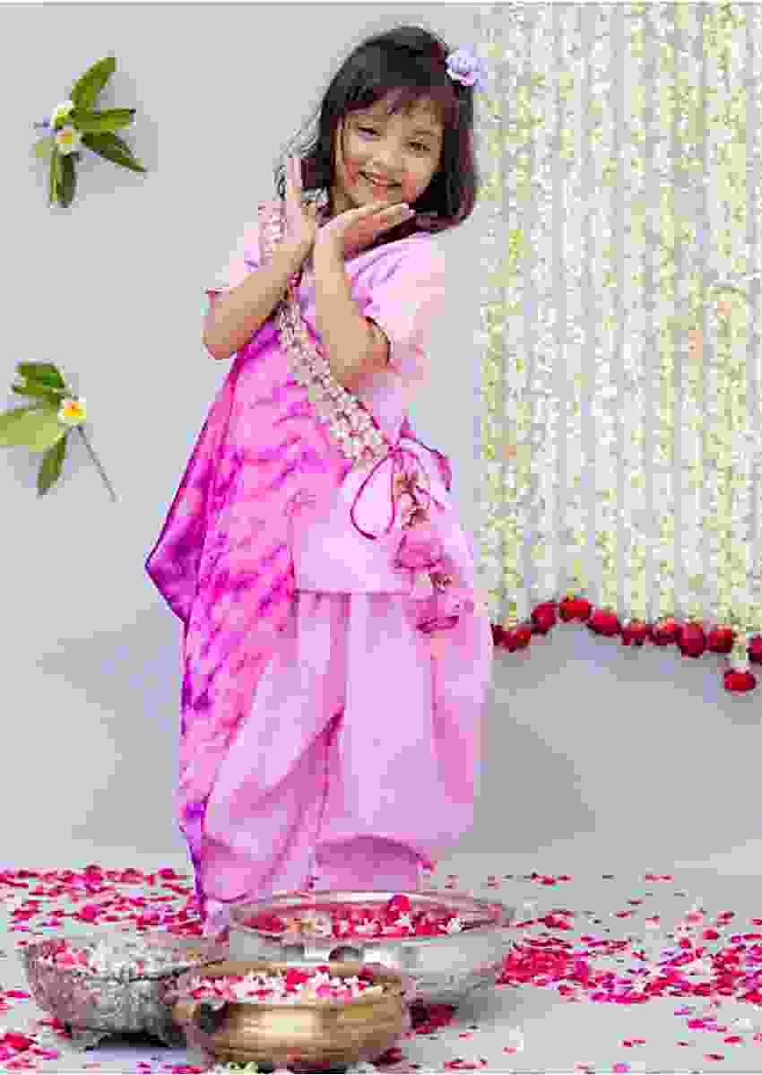 Pink Dhoti Suit with Tie Dye Half Jacket By Fayon Kids
