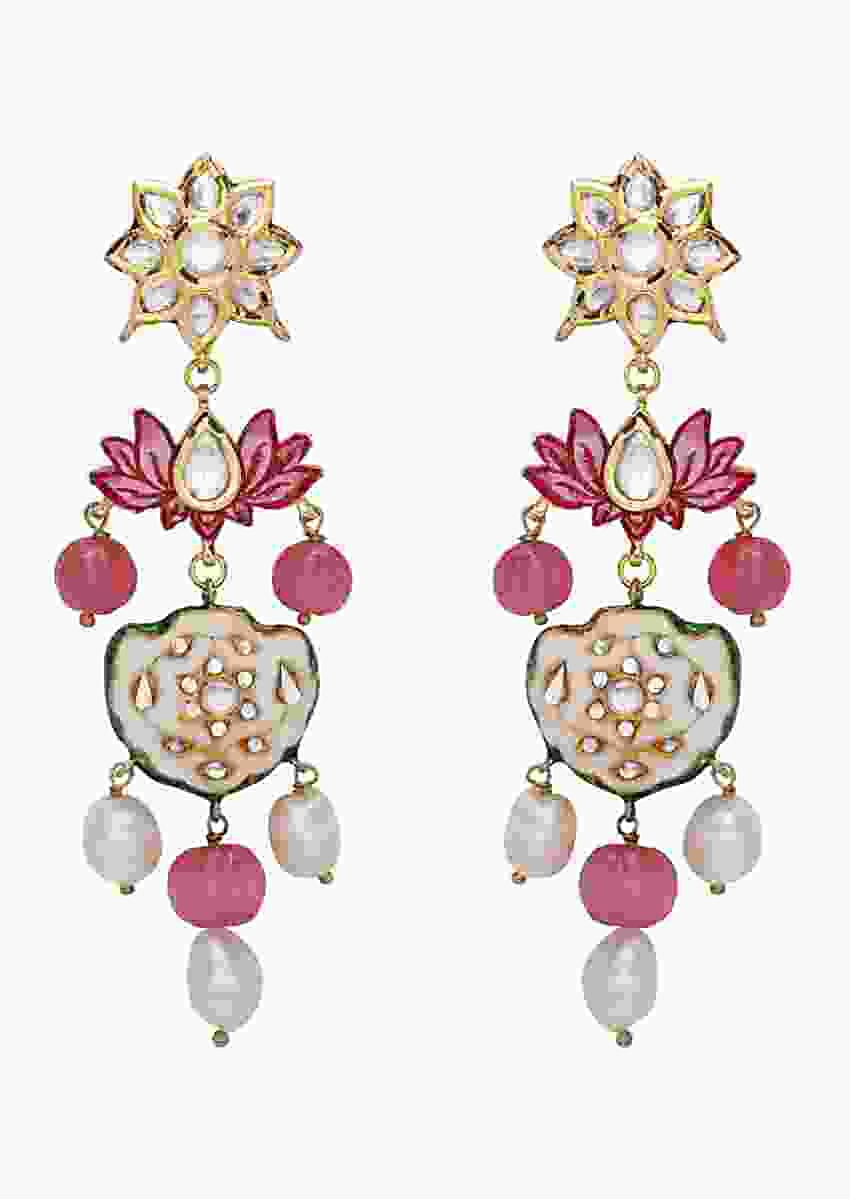 Pink Earrings In Floral Design With Polki, Lotus Enamelling, Baroque Pearls And Pink Jade Melons Online - Joules By Radhika