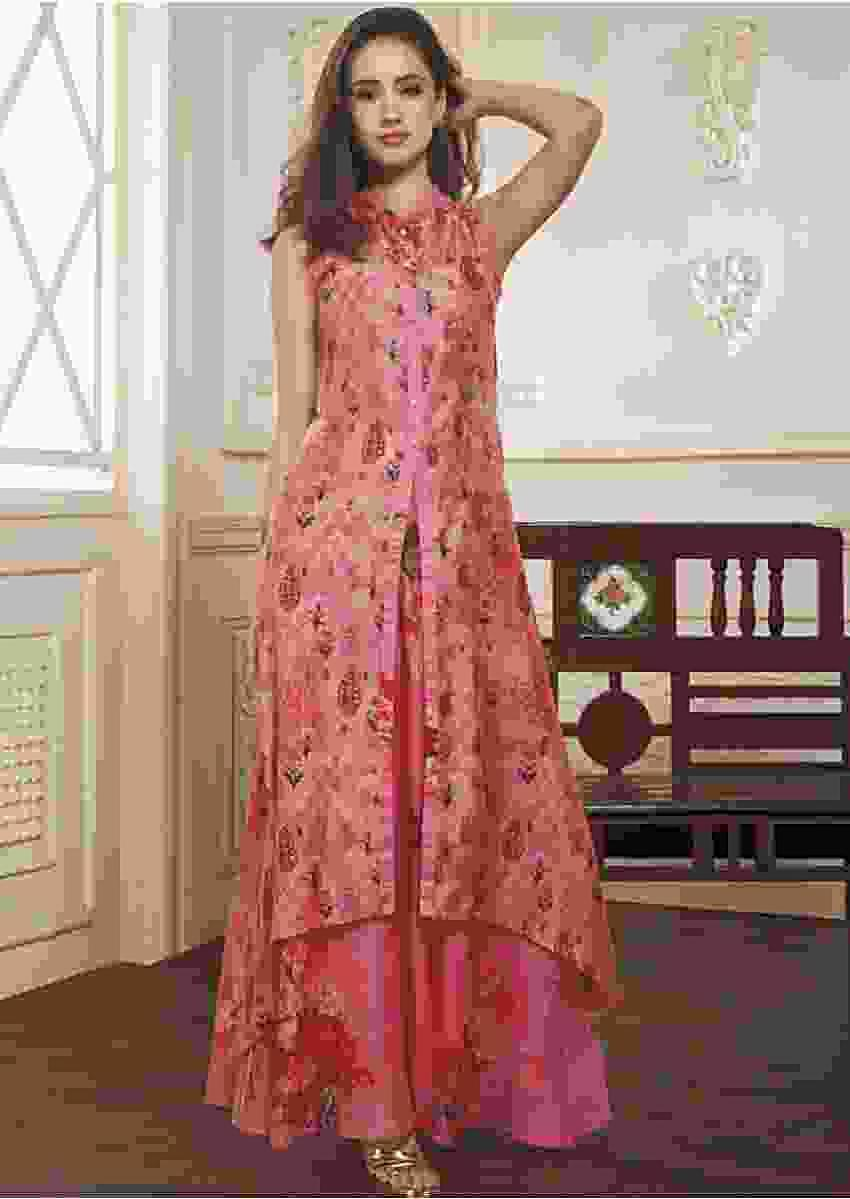Pink High Low Kurti And Skirt Set In Silk Enhanced With Digital Print Online - Kalki Fashion