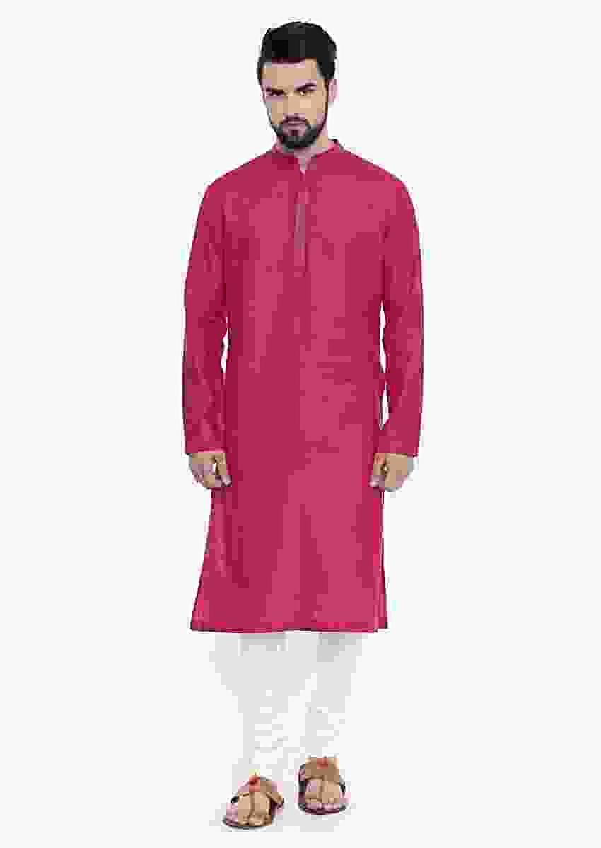 Pink Kurta And Churidar Set In Linen With Subtle Thread Embroidery On The Placket And Collar By Mayank Modi