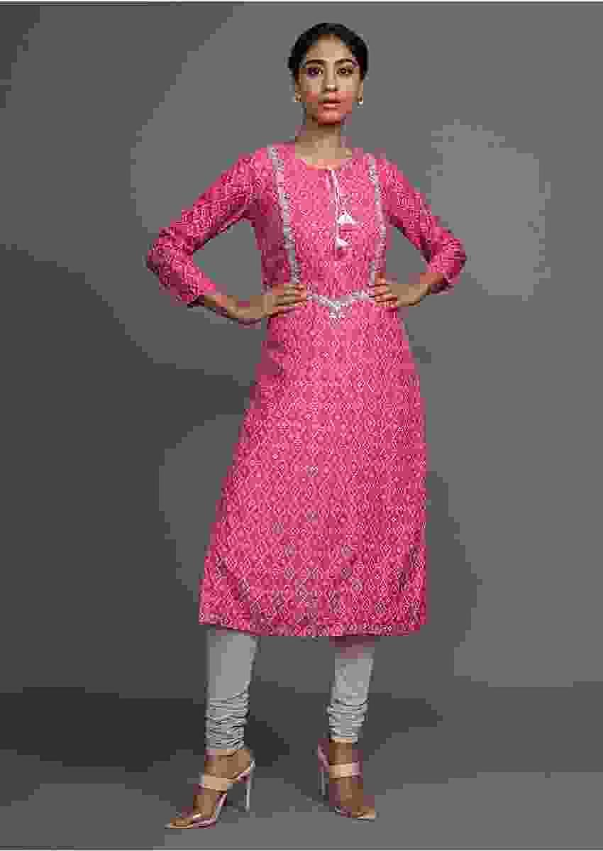 Pink Kurti With Bandhani Printed Geometric Jaal And Gotta Patti Work Online - Kalki Fashion