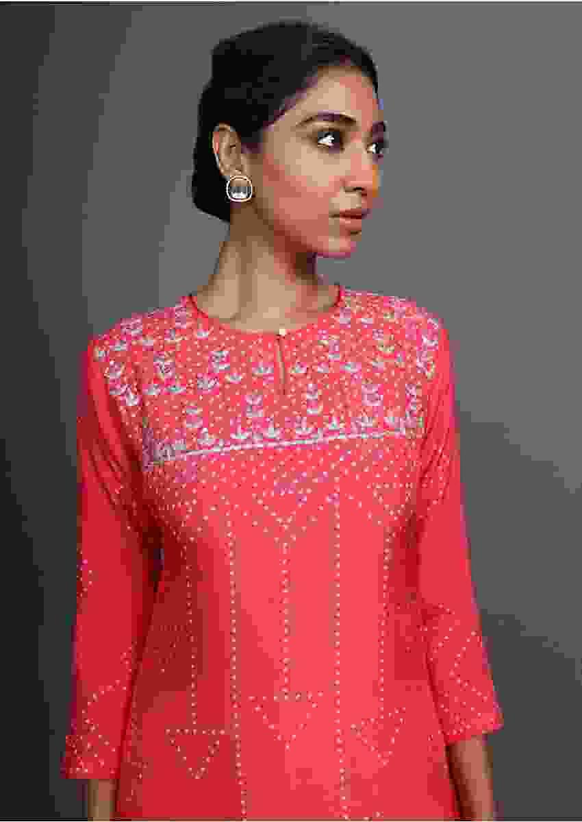 Pink Kurti With Bandhani Printed Geometric Motifs And Gotta Patti Work On The Yoke Online - Kalki Fashion