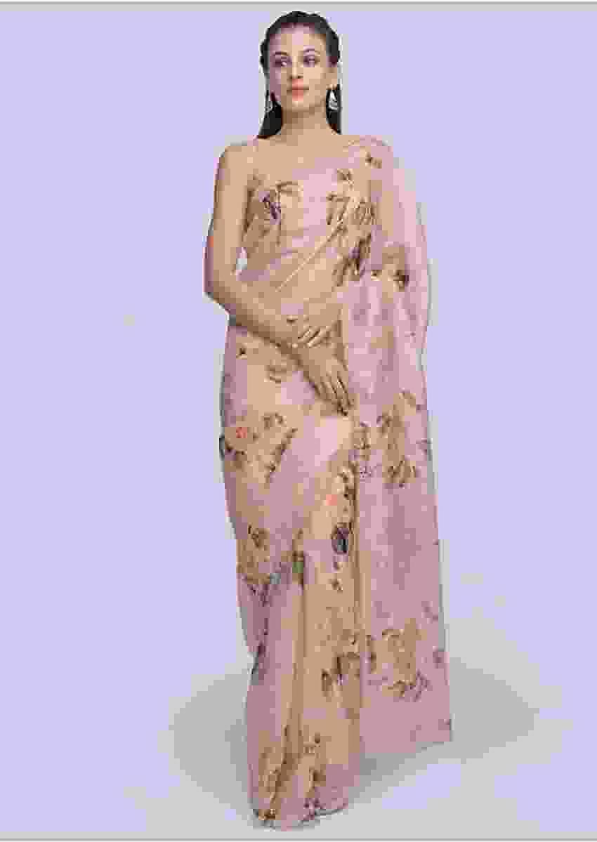 Pink Organza Saree With Floral Printed Butti Online - Kalki Fashion