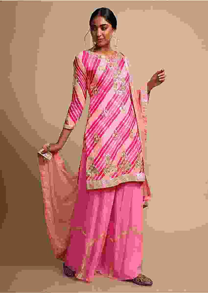 Pink Palazzo Suit With Multi Color Lehariya Printed Kurti Adorned With Gotta Patti Online - Kalki Fashion