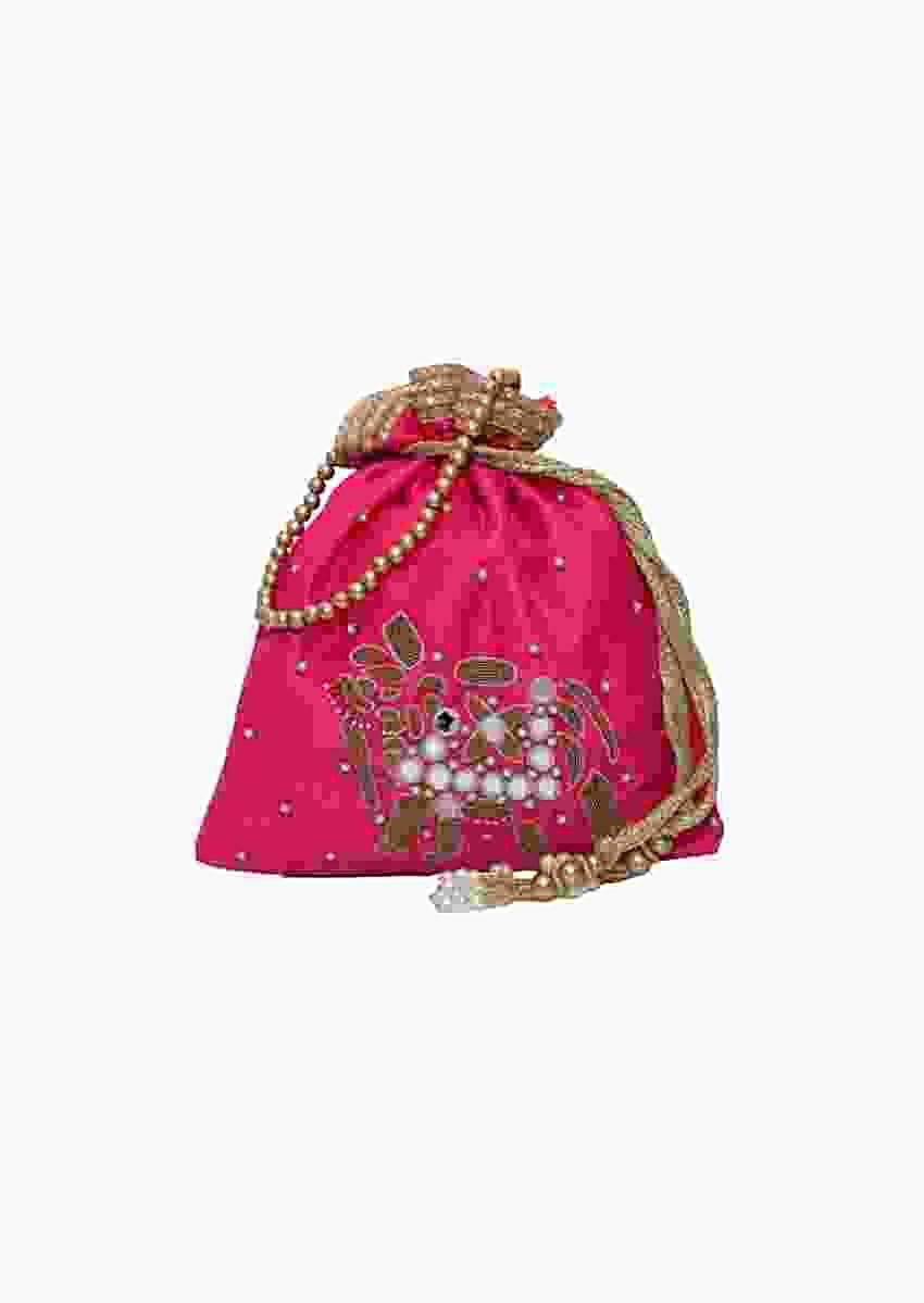 Pink Potli Bag In Raw Silk With Mirror And Zardosi Embroidered Elephant Motif By Pink Cocktail