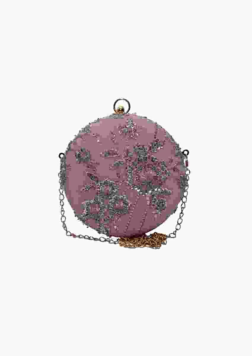Pink Round Clutch With Silver Sequins And Cut Dana Embellished Floral Design By Pink Cocktail