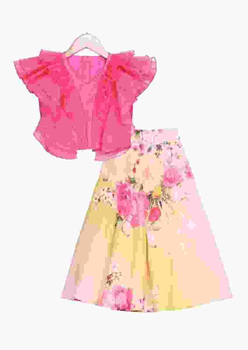 Pink ruffle top with green and peach Ombre floral printed lehenga Online - Free Sparrow