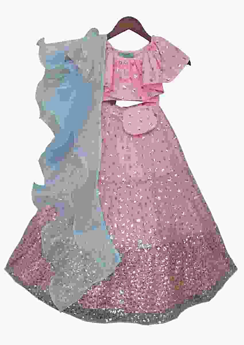 Pink Sequence Top with Lehenga by Fayon Kids
