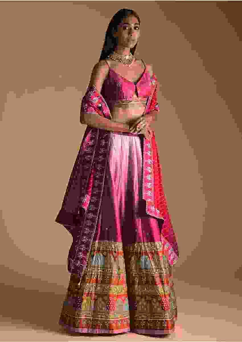 Pink Shaded Lehenga And Crop Top In Silk With Multi Color Floral And Geometric Printed Hem Online - Kalki Fashion