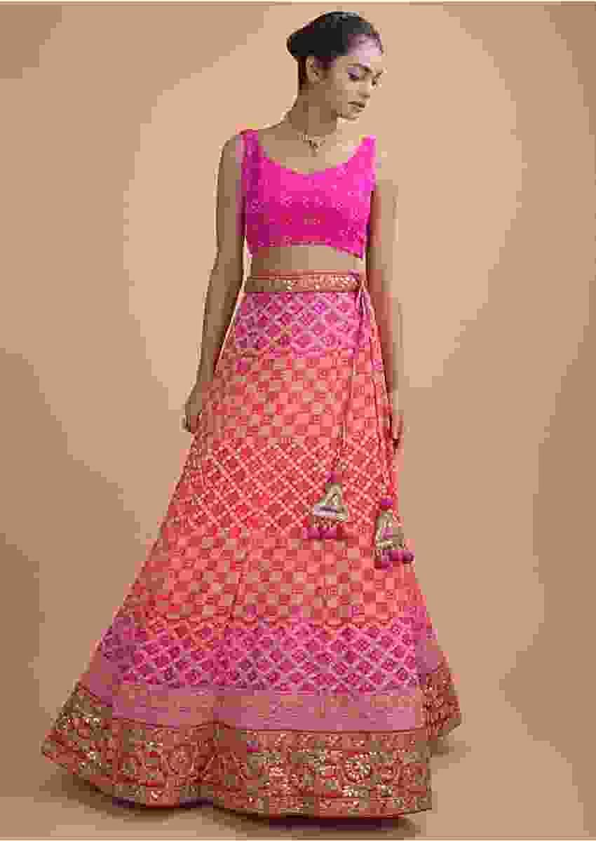 Pink Shaded Lehenga In Silk With Weaved Checks And Bandhani Print Online - Kalki Fashion