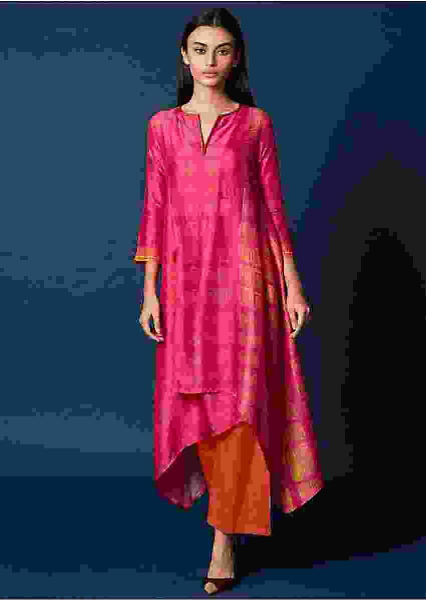 Pink Shaded Top In Cotton Silk With Asymmetric Hem Line Online - Kalki Fashion