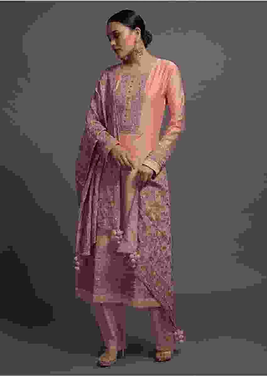 Pink Silk Straight Suit Set With Cord And Zari Work Online Kalki Fashion
