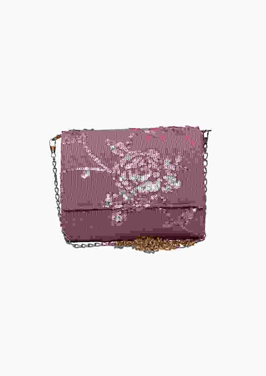 Pink Three Fold Clutch With Sequins And Thread Work In Floral Motif By Pink Cocktail