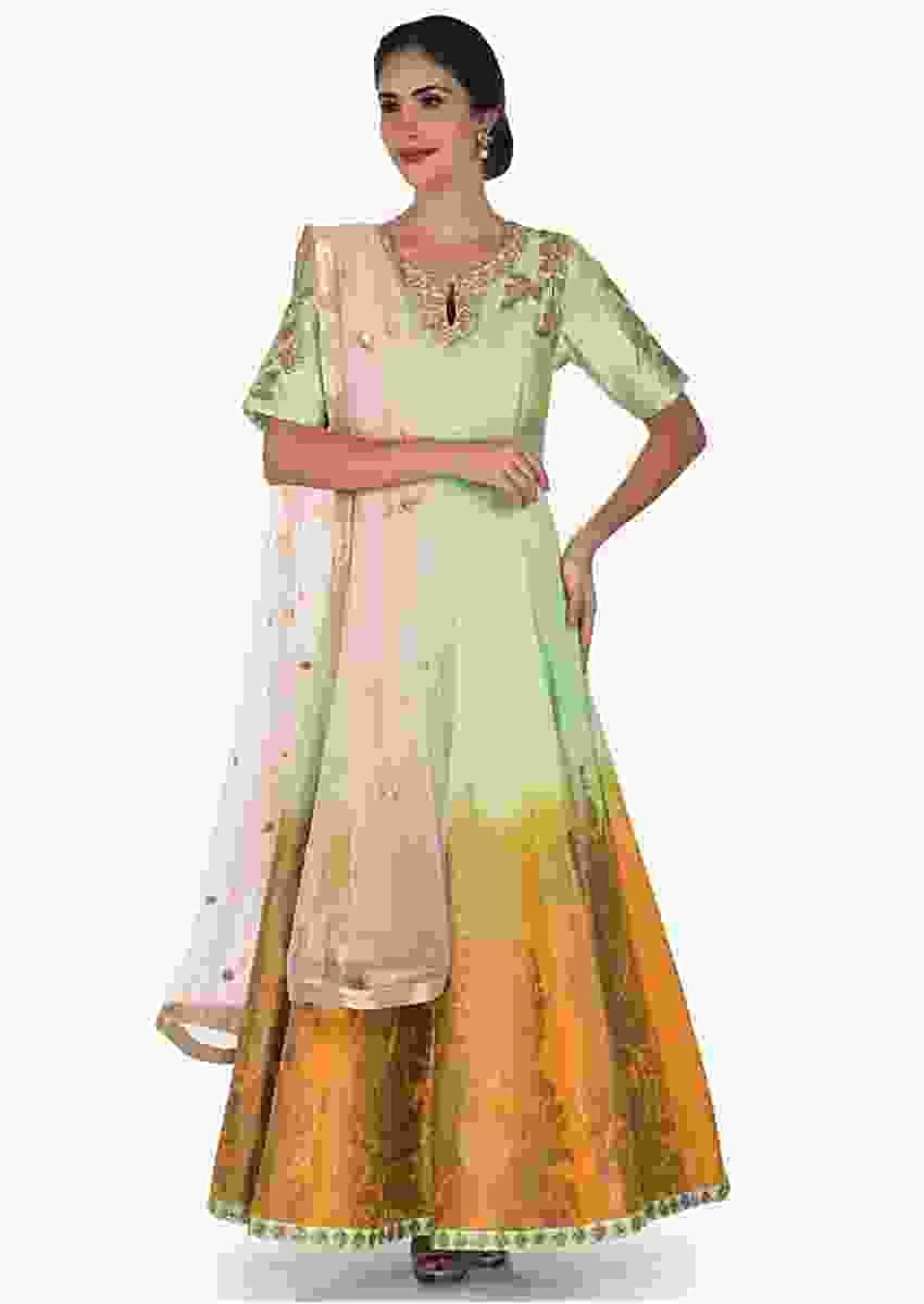 Pista Green Suit With Pink Dupatta Adorn In Zardosi And Sequin Work Online - Kalki Fashion